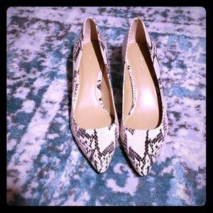 Ann Taylor Snakeskin Print Leather Heels